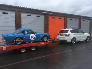 Triumph Spitfire on trailer